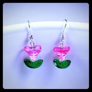 Jewelry - 💖✨Czech Pink Tulips Handmade Earrings✨💖